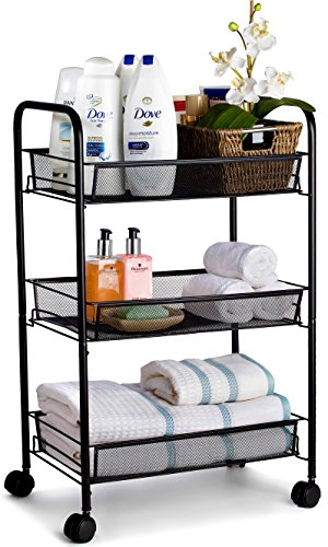Metal Rolling Cart - These Utility Carts are Useful for Kitchen Pantry Food Storage, Bathroom Organization or as a Serving Trolley. Includes Lockable Wheels for Stability. (3-Tier, Black)