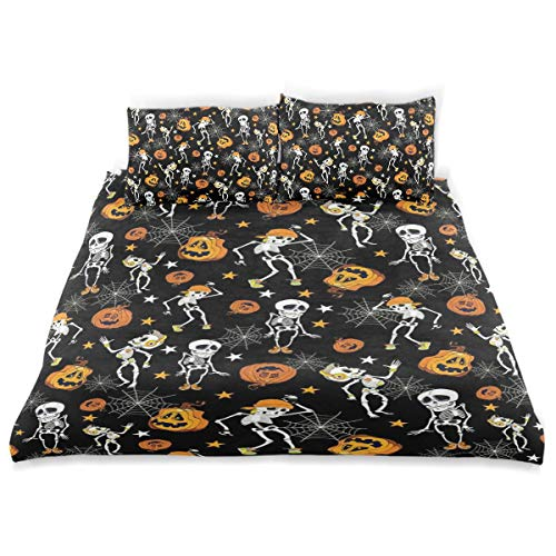 CANCAKA Dancing Duvet Cover Set Dancing Halloween Skeletons Pumpkins Pattern Bedding Decoration Queen/Full Size 3 PC Sets 1 Duvets Covers with 2 Pillowcase Microfiber Bedding Set Bedro]()
