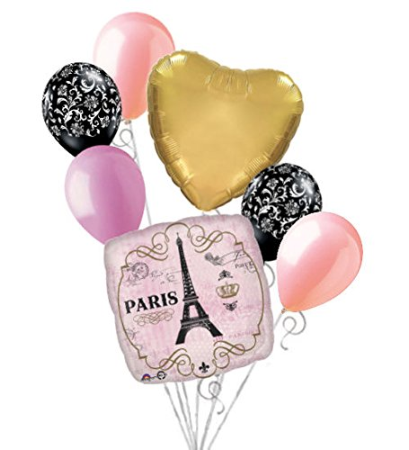 7pc Shabby Chic Day in Paris Balloon Bouquet Decoration Party Birthday Pink Gold -