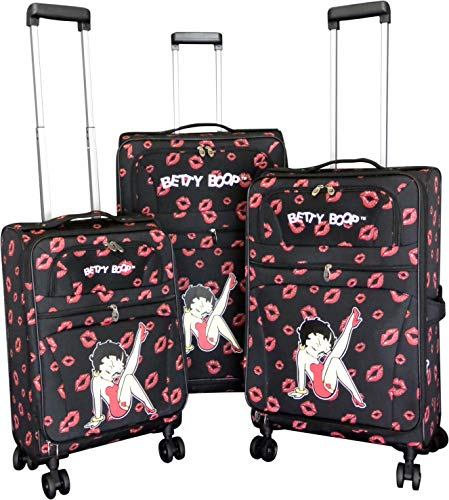 3Pc Luggage Set Travel Bag Rolling Wheel CarryOn Expandable Upright Betty Boop Red 4 Wheel