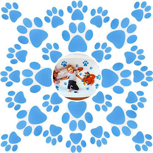 24 Pieces Non-Slip Bathtub Stickers Adhesive Paw Print Bath Treads Adhesive Decals Anti-Slip Appliques with Plastic Scraper for Bath Tub Pools Supplies (Blue)