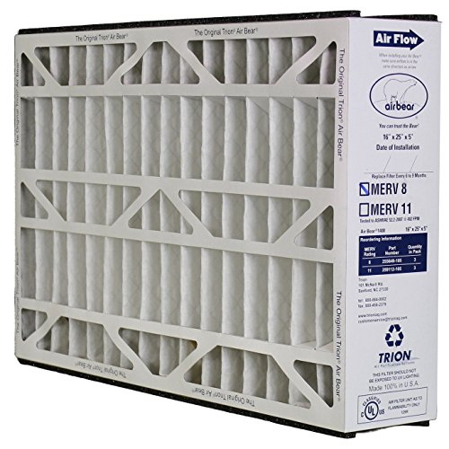 Trion Air Bear 255649-105 - Pleated Furnace Air Filter 16''x25''x5'' MERV 8 2-Pack by Trion