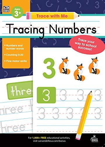 Carson Dellosa - Tracing Numbers Activity Book for Toddlers, Grade PK, K, Grade 1 Paperback, 128 Pages, Ages 3+ (Trace with Me)