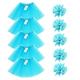 BGFKS 5 Pack Tutu Skirt for Girl Ballet Dance Costume Dress up Princess Party Girl Tutus with Butterfly Headdress 12 Colors Age 2-8(Blue)