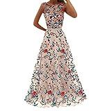 Mysky Popular Women Elegant Flower Embroidery Party Maxi Dress Ladies Boho Sleeveless A-Line Holiday Long Dress Pink