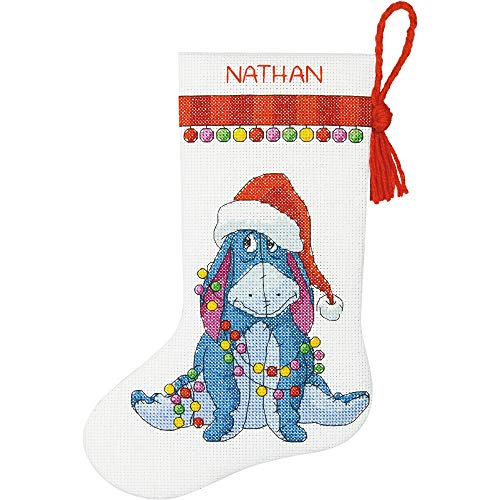(Dimensions Eeyore Christmas Stocking Counted Cross Stitch Kit for Beginners, 14 Count White Aida Cloth, 10''L)