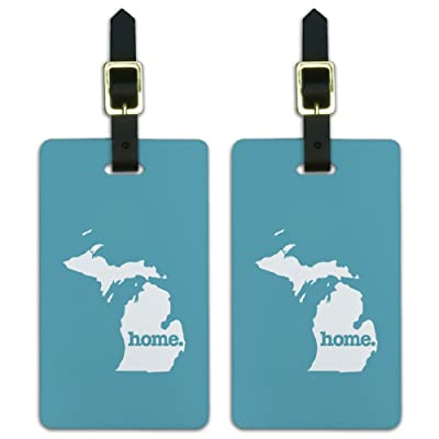 Graphics & More Michigan Mi Home State Luggage Suitcase Id Tags-Solid Robin Egg Blue, White