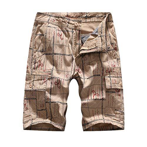 khdug✿Shorts for Men, Hawaiian Summer Casual Tooling Multi-Pocket Casual Loose Shorts Beach Pants Trousers Khaki