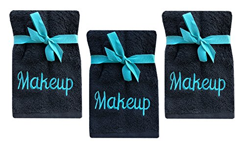 Makeup Wash - Luxury 100% Cotton Makeup Removal and Cleansing Embroidered Wash Cloths by Home Bargains Plus , New Colors, Set of 3 Make-Up Wash Cloths, Black with Aqua Embroidery