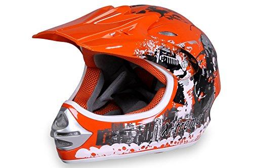 Motorradhelm X-treme Kinder Cross Helme Sturzhelm Schutzhelm Helm für Motorrad Kinderquad und Crossbike Modell Design 2015 in orange (X-Large)