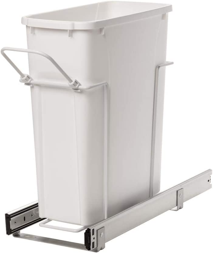 Knape & Vogt RS-PSW9-1-20-W 17 in. H x 8 in. W x D Steel in-Cabinet 20 Qt. Single White Pull Out Trash Can