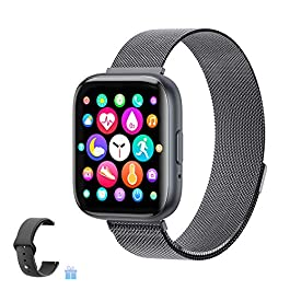 2021 Upgraded Smart Watch, Fitness Tracker with Heart Rate/Sleep/Steps Monitor Compatible for iPhone Samsung Android…