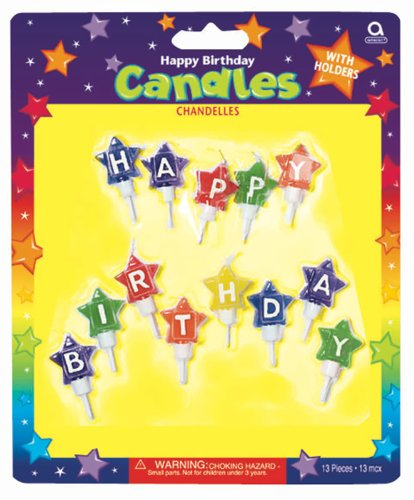Amscan International Star Shaped Happy Birthday Candles by Amscan