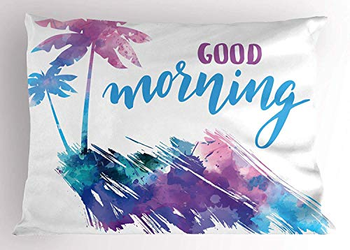 Ustcyla Good Morning Sunshine Pillow Sham, Tropical Hawaii Palm Trees Watercolor Stencil Design and Splashed Ink, Decorative Standard Queen Size Printed Pillowcase, 30 X 20 Inches, -