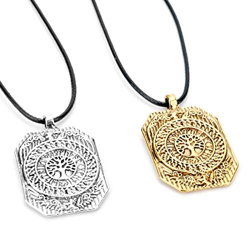 - FITIONS - Slavic Norse Runes Tree of Life Crow Badge Octagonal Rectangle Charm Talisman Antique Pendant Necklaces Amulet Jewelry