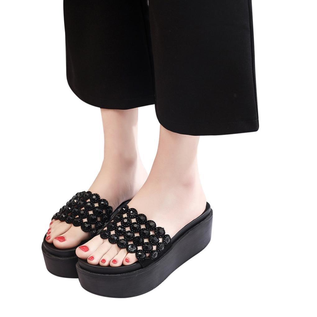 RAISINGTOP 2018 Women Rhinestones Thick Bottom Platform Shoes Sandals flip Flops Decorations Comfort Wide (US 8, Black)