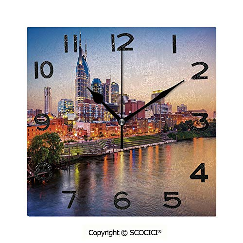 SCOCICI Print Square Wall Clock, 8 Inch Cumberland River Nashville Tennessee Evening Architecture Travel Destination Quiet Desk Clock for Home,Office,School