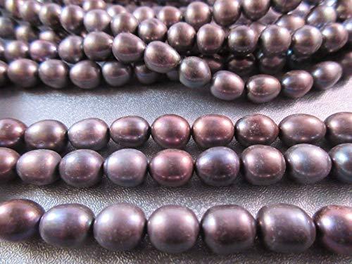 Freshwater Black Rice Pearl Beads 43pcs #ID-1446