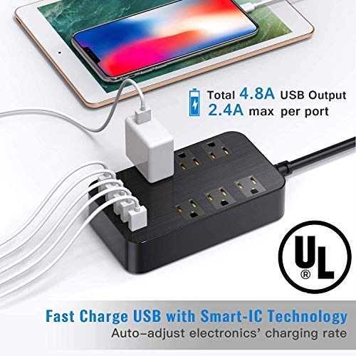 Power Bar Surge Protector - 6-Outlet Surge Protector with 5 USB Ports Fast Charging (4.8A) UL Listed, 6Ft Long Extension Cord Flat Plug Wall Mountable, 1700 Joules for iPhone iPad Home Dorm Office Laptop Computer