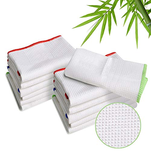 Rags Reusable Cotton Wiping Cloths - LUCKISS 100% Bamboo Dish Cloths Cleaning