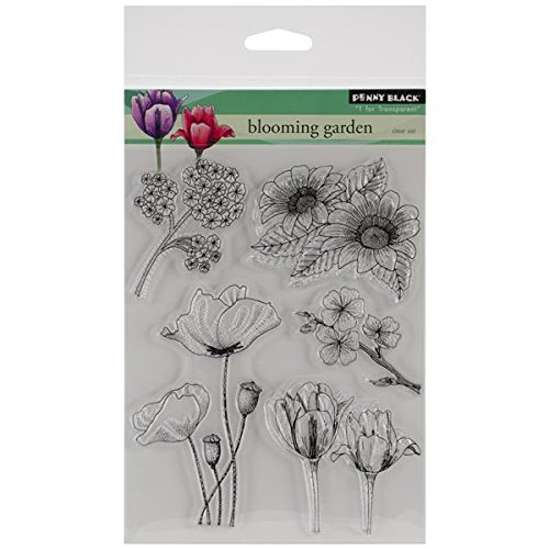Penny Black Decorative Rubber Stamps, Blooming Garden (30-155) by Penny Black Inc