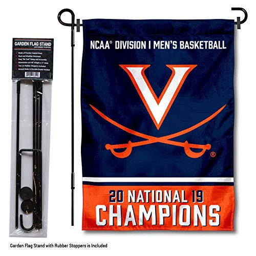 College Flags and Banners Co. Virginia Cavaliers Basketball National Champions Garden Flag with Pole Stand Holder