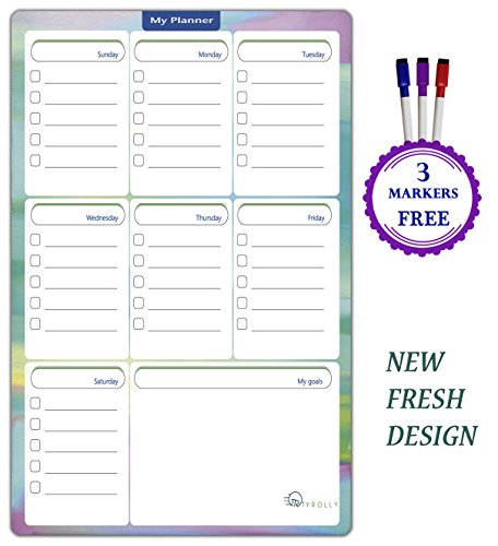 Weekly Planner Dry Erase Board Magnetic Refrigerator 17x11 Erase Set with 3 Magnetic Dry Erase Markers -To Do List board-Shopping List for Fridge by TYROLLY