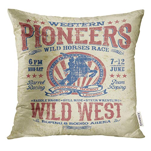 UPOOS Throw Pillow Cover Cowboy Western Pioneers Rodeo Artwork for Grunge Effect in Separate Layer America Boy Decorative Pillow Case Home Decor Square 20x20 Inches Pillowcase