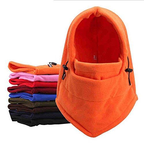 BesTim Thermal Fleece Balaclava Hat Hood Police Swat Ski Bike Wind Stopper Mask,6 in 1 Multifuction Balaclava Hood (Orange) - Blaze Orange Polar Fleece