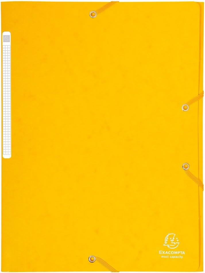 EXACOMPTA Mappen mit Gummib/ändern 10 Maxi capacity gl/änzendem Karton 425gm/² A4 Nature Future gelb
