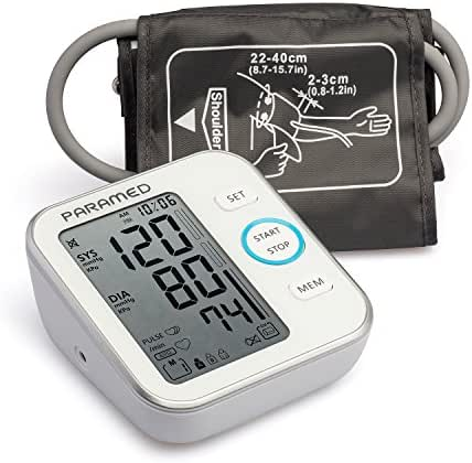 PARAMED Blood Pressure Monitor Accurate Automatic Upper Arm Bp Machine & Pulse Rate Monitoring Meter with Cuff 22-40cm, 120 Sets Memory, LCD & Talking - Device Bag & 4AAA Included - Fda Approved