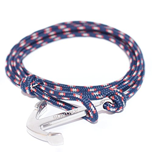 Anchor Bracelets by SONDER for Men Women on Rope Cuff Bracelets with a Stainless Steel Silver Nautical Anchor in various colors and styles - Look Better