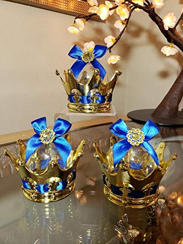 12 Baby Shower Party Favor Prince Gold Crown Decorations]()