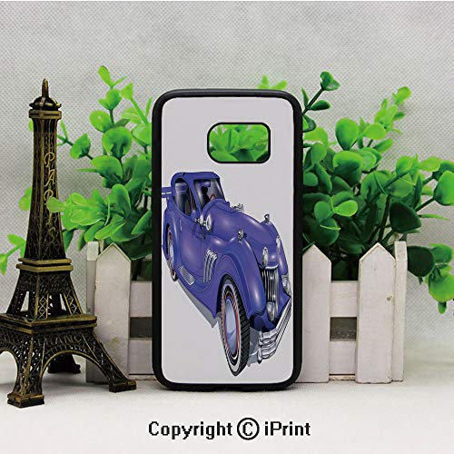 Custom Vehicle with Aerodynamic Design for High Speeds Cool Wheels Hood Spoilers Decorative Samsung Galaxy S7 Case Hard Back Shock Drop Proof Impact Resist Protective Case for Samsung S7 Violet Blue