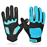 Men Women Touchscreen 5mm Gel Silicone Padded Windproof Light Fleece Lining Full Finger Gloves for Winter Outdoor Cycling Mountain Bike Road Racing Bicycle Riding Motorcycle Driving
