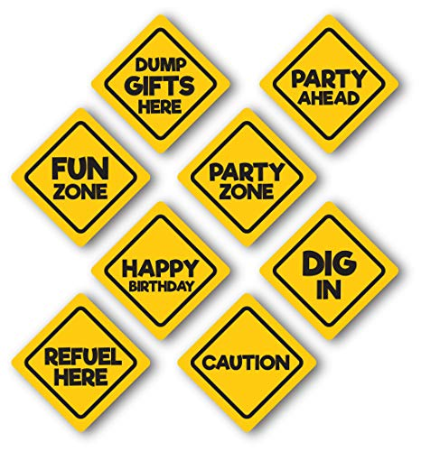Construction Themed Birthday Party Signs, glossy 8 Pack, Medium Size 8