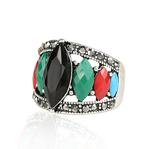 ClothingTalks Multicolor Resin Tibet Silver Alloy Rings For Women (Rose Tibet Silver)
