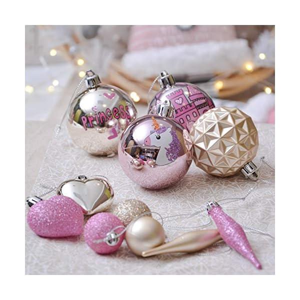 Valery Madelyn Palle di Natale 70 Pezzi di Palline di Natale, 3-10 cm Ricoperte di Zucchero Rosa e Oro Infrangibile Ornamenti di Palla di Natale Decorazione per la Decorazione Dell'Albero di Natale 5 spesavip