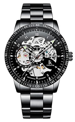 Men's Watch Luminous Skeleton Dial Gears Visible Classic Automatic Mechanical Watch with Original Box (Black Silver) ()