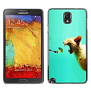 Qstar Arte & diseño plástico duro Fundas Cover Cubre Hard Case Cover para SAMSUNG Galaxy Note 3 III / N9000 / N9005 ( Broccoli Fresh Vegan Food Cat Bite Mouth)