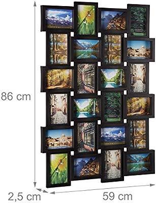 Marco para 24 fotos Relaxdays, marco de fotos para colgar, foto collage para diseñar, Medidas:59 alto x 86 ancho x 2.5 cm profundidad, color negro