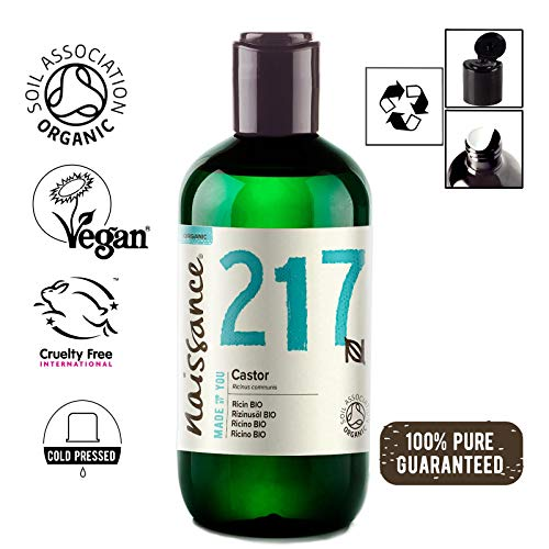 Naissance Certified Organic Castor Oil 8.5 fl oz / 250ml - 100% Pure Natural, Cold Pressed, Vegan, Hexane-Free, No GMO - Nourishes & Moisturizes Dry Skin, Stimulates Eyebrows, Eyelashes & Hair Growth