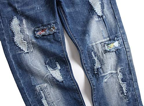 51B37i8hjtL. AC AITITIA Men's Biker Zipper Deco Washed Straight Fit Jeans    Product Description