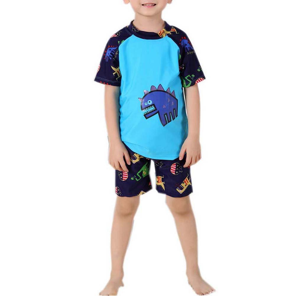 Panda Superstore Two Pieces Bathing Suit 4-6 Yrs Funny Boys Swimsuit Blue Dinosaur Great Gift