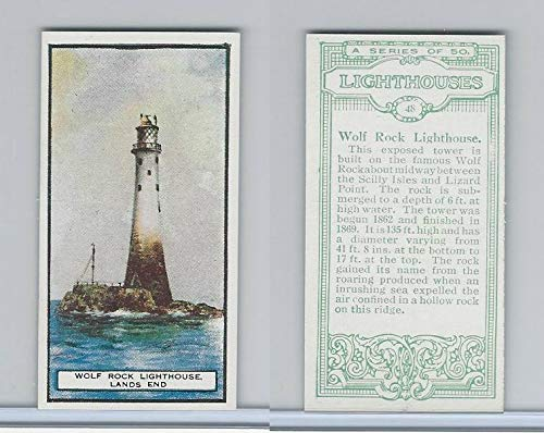 (B0-0 British Tobacco Card, Lighthouses, 48 Wolf Rock, Lands)