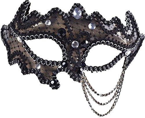 Venetian Fancy Party Masquerade Ball Decorative 3/4 Glasses Style Eye Mask Black