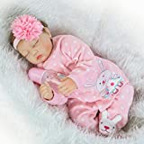 ZIYIUI Real Looking Sleeping 22 Inches Reborn Baby Doll Girl Soft Silicone Pink Lifelike Newbron Toddler Vinyl Xmas Gift