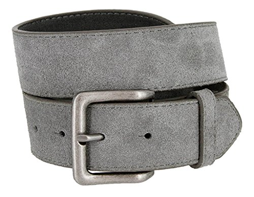 Suede Designer Belt (Hagora Men's Plain Solid Color Genuine Suede 1-1/2