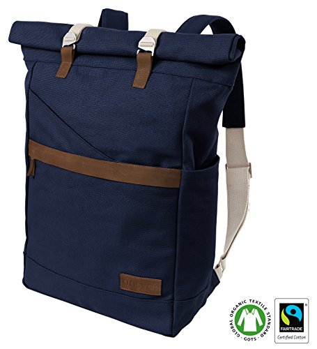 Ansvar Organic Cotton Canvas Backpack in Navy Blue   High Quality Unisex Daypack from 100% sustainable material   Vintage Roll Top Canvas / Leather Bag   First GOTS & Fairtrade certified Rucksack