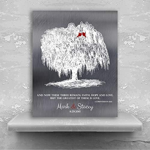 (Personalized Willow Tree Corinthians 13:13 Faith Hope Love 10th Anniversary Gift Faux Shiny Tin Custom Art Print 1412 Metal Print)